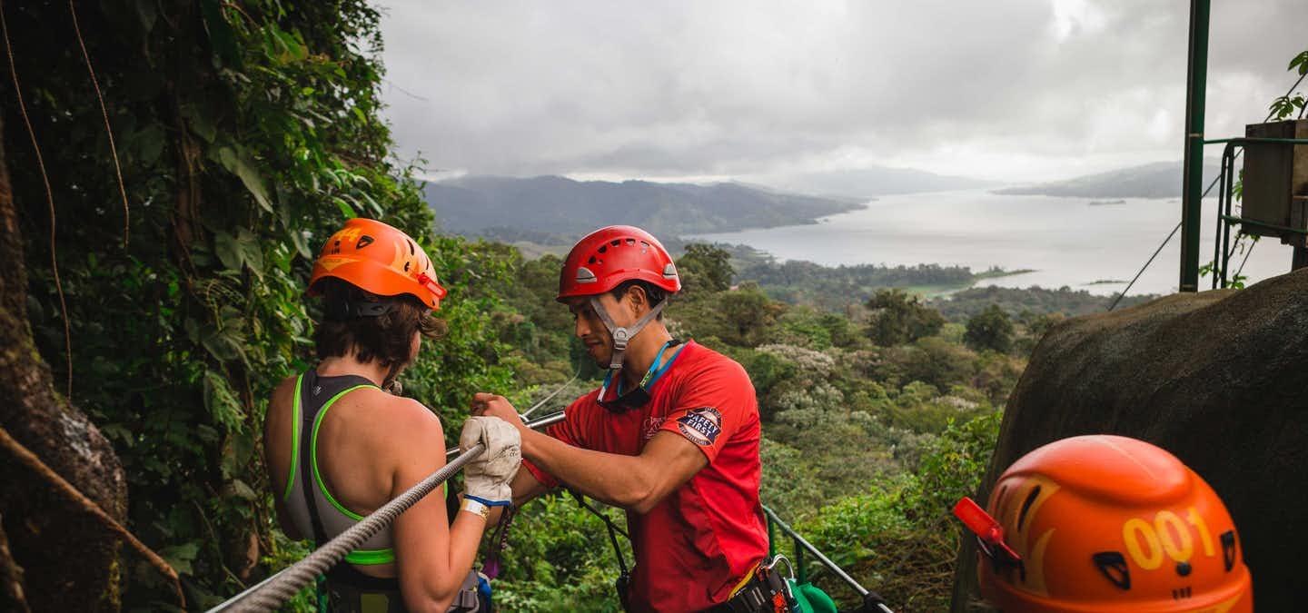 Sky Trek is a thrilling zip line circuit flying over the Arenal Volcano trees. Your tour will start riding an open-air gondola from the ground to the heights where you'll be dropped off at an observation area for fantastic views of the Arenal Volcano and Arenal Lake.