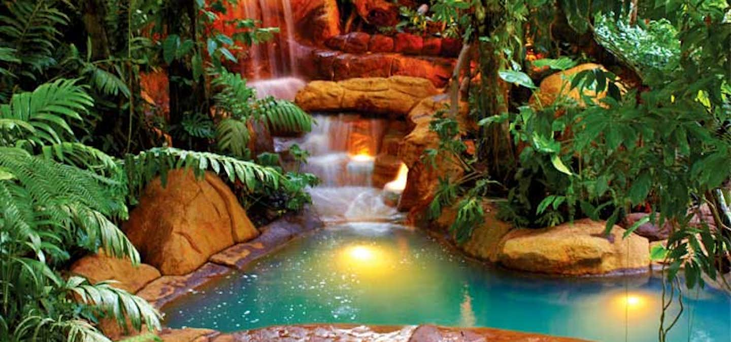 The freeform, landscaped pools provide guests with great views of the volcano and a multitude of options. These Arenal hot springs with temperatures ranging from 83F to 103F and environments that vary from raging waterfalls to tranquil forest experiences.