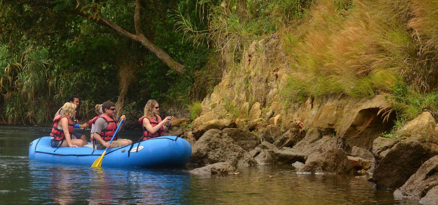 Visitors from all over the world come to Costa Rica and one of the main reasons is to check out our nature! We have it all and can take you with our best guides around the rainforest that Arenal offers with this fantastic combo of a 4 in 1 Safari Float - Fortuna Waterfall - Volcano Hike and Baldi Hot Springs!